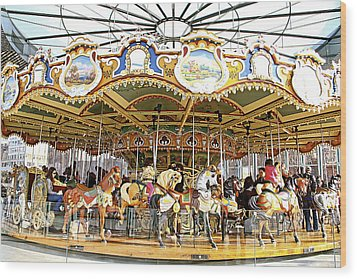 Wood Print featuring the photograph New York Carousel by Alice Gipson