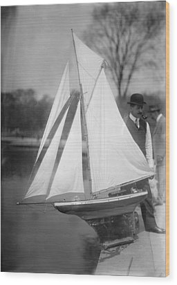 New York City, Man With Toy Yacht Wood Print by Everett