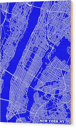 New York City Map Streets Art Print   Wood Print