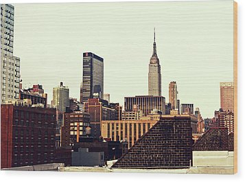 New York City Rooftops And The Empire State Building Wood Print by Vivienne Gucwa