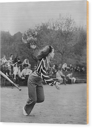 New York City, Woman Playing Softball Wood Print by Everett