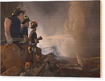New York Firefighters Continue Wood Print by Everett