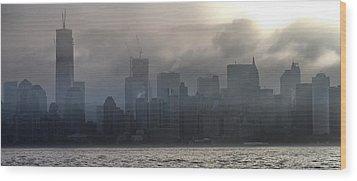 New York Fog Wood Print by Farol Tomson