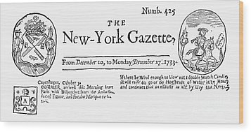New York Gazette, 1733 Wood Print by Granger