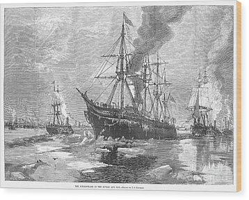 New York Harbor: Ice, 1881 Wood Print by Granger
