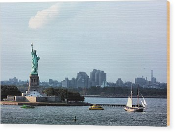 New York Harbor Wood Print by Kristin Elmquist