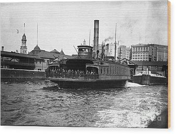 New York Harbour Steamship Whitehall Leaving Port A Summers Day In 1904 Wood Print by Finn Trygvason Klingenberg