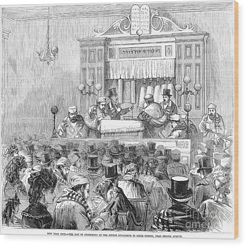 New York Synagogue, 1871 Wood Print by Granger