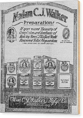 Newspaper Ad For Madam C.j. Walker Wood Print by Everett