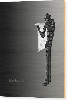 Wood Print featuring the digital art Newspaper Reader by Asok Mukhopadhyay