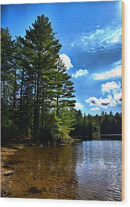Wood Print featuring the photograph Nh Lake 3 by Edward Myers