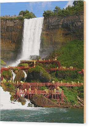 Wood Print featuring the photograph Niagara Falls Cave Of The Winds by Mark J Seefeldt