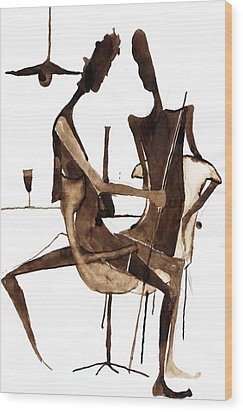 Wood Print featuring the drawing Nice Evening by Maya Manolova