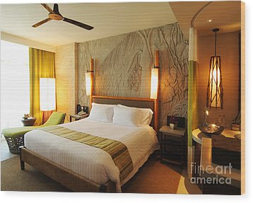 Nice Hotel-room Wood Print by Atiketta Sangasaeng