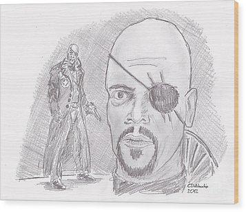 Nick Fury- Director Of S.h.i.e.l.d. Wood Print by Chris  DelVecchio