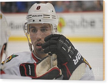 Nick Leddy - Chicago Blackhawks Wood Print by Melissa Goodrich