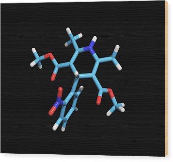 Nifedipine Drug Molecule Wood Print by Dr Tim Evans