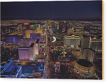 Night Aerial View Of The Las Vegas Wood Print by Everett