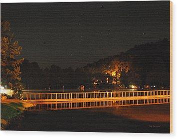 Night Bridge Wood Print by Kay Lovingood