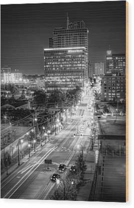 Wood Print featuring the photograph Night City by Anna Rumiantseva