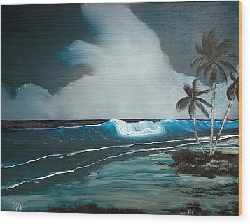 Wood Print featuring the painting Night Dream by Karen Nicholson