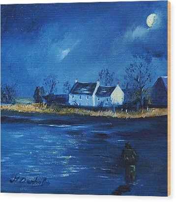 Night Fishing On The Forth Wood Print by Margaret Denholm