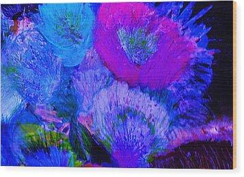 Night Flowers Wood Print by Anne-Elizabeth Whiteway