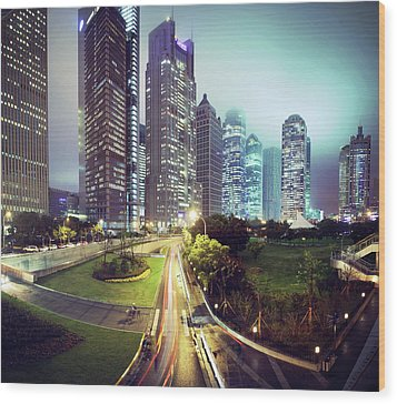 Night Fog Over Shanghai Cityscape Wood Print by Blackstation