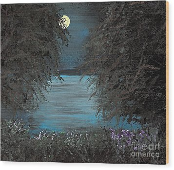 Wood Print featuring the painting Night In The Bayou by Alys Caviness-Gober