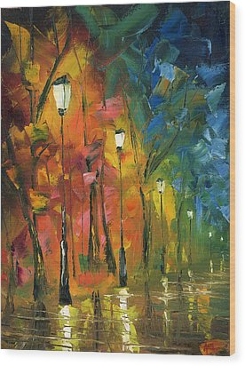 Night In The Park Wood Print by Ash Hussein
