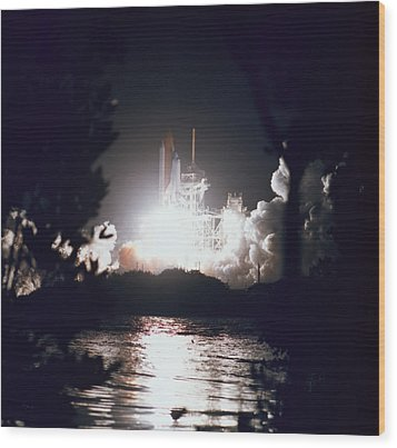 Night Launch Of The Space Shuttle Wood Print by Stockbyte