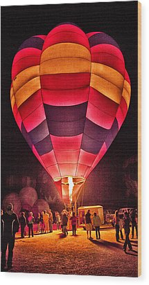 Night Lighting Of Ballon Wood Print by James Bethanis