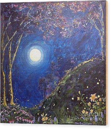 Night Lilies Wood Print