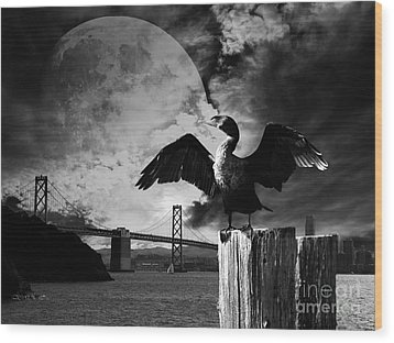 Night Of The Cormorant . Black And White Wood Print by Wingsdomain Art and Photography