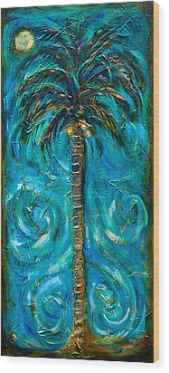 Night Palm Wood Print by Linda Olsen