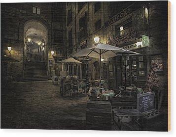 Night Plaza Wood Print by Torkil Storli