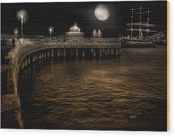 Night Port Wood Print by Michael Cleere