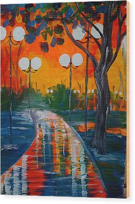 Wood Print featuring the painting Night Reflections by Judi Goodwin