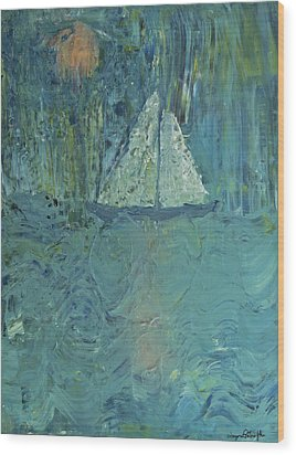 Night Sail Wood Print by Wayne Potrafka