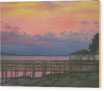 Night Sky Over Lake Marion Wood Print by Kathleen McDermott