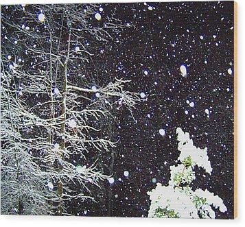 Night Snow Wood Print by Sandi OReilly