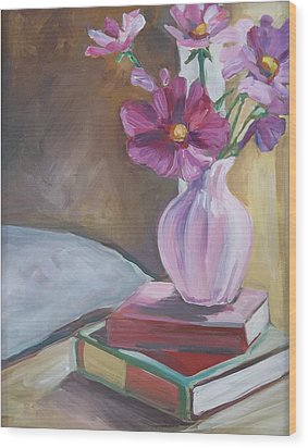 Night Stand With Flowers And Books Wood Print by Michelle Grove