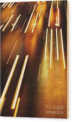 Night Traffic Wood Print by Carlos Caetano