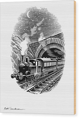 Night Train, Artwork Wood Print by Bill Sanderson