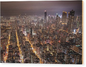 Night View Of Kowloon Wood Print by Ray Cheung