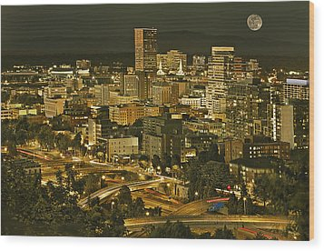 Night View Of Portland City Downtown Wood Print by Tatiana Boyle