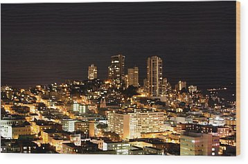 Night View Of San Francisco Wood Print by Luiz Felipe Castro