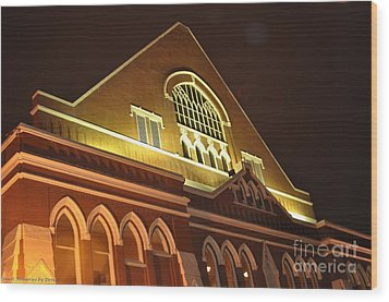 Night View Of The Ryman Wood Print