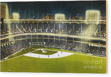 Night View Of Yankee Stadium In The 1950's Wood Print