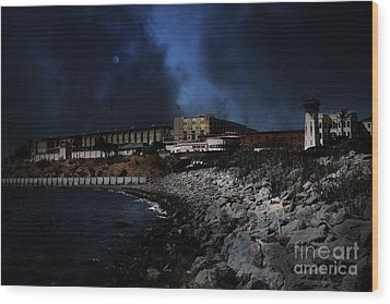 Nightfall Over Hard Time - San Quentin California State Prison - 5d18454 Wood Print by Wingsdomain Art and Photography
